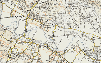 Old map of West Parley in 1897-1909