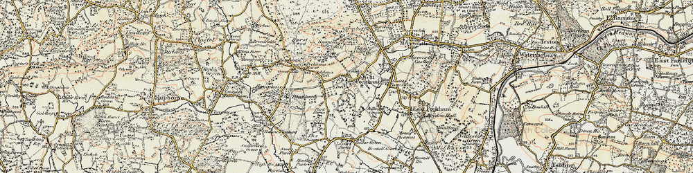 Old map of West Peckham in 1897-1898