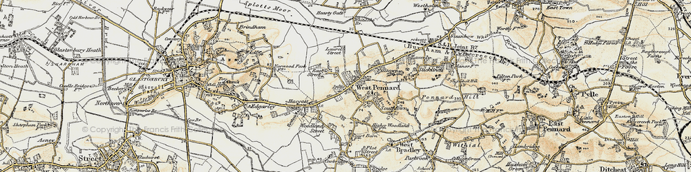 Old map of West Pennard in 1899