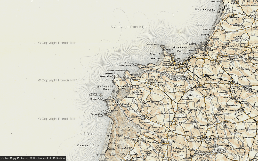 Old Map of West Pentire, 1900 in 1900