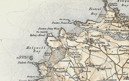Old map of West Pentire in 1900