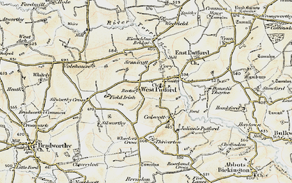 Old map of West Putford in 1900