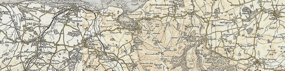 Old map of West Quantoxhead in 1898-1900