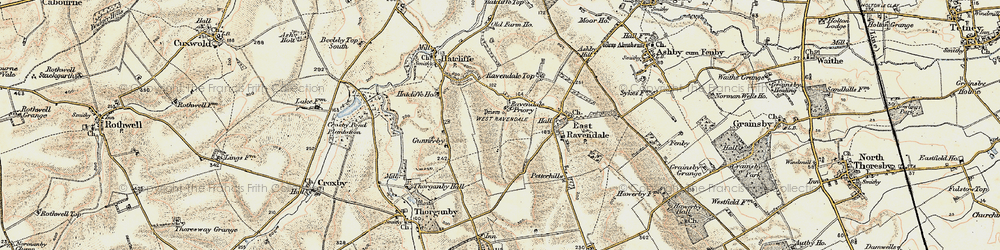 Old map of West Ravendale in 1903-1908