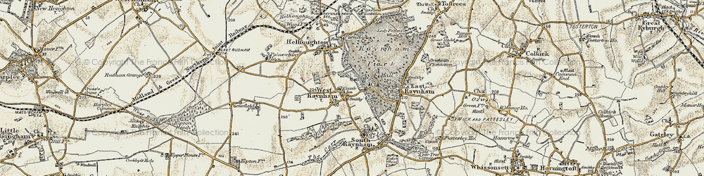 Old map of West Raynham in 1901-1902