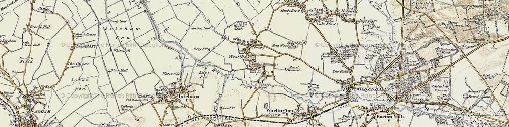 Old map of West Row in 1901