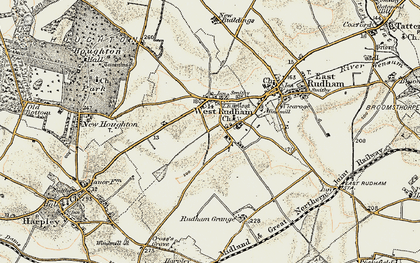 Old map of West Rudham in 1901-1902