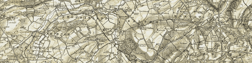 Old map of West Saltoun in 1903-1904