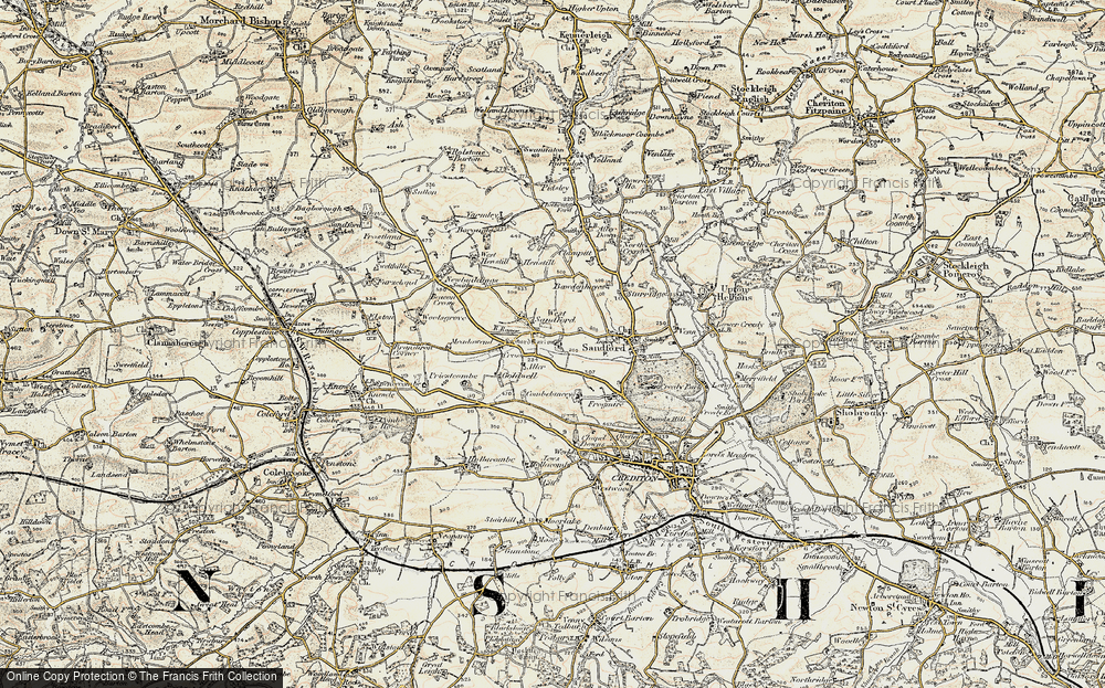 Old Map of Historic Map covering Aller Barton in 1899-1900