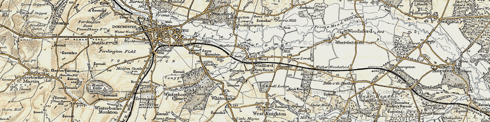 Old map of West Stafford in 1899-1909