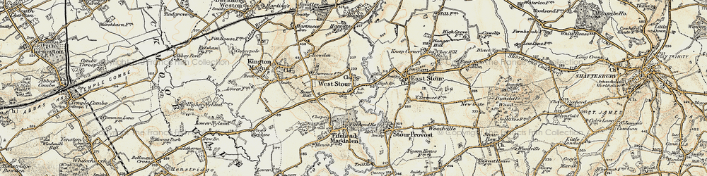 Old map of West Stour in 1897-1909