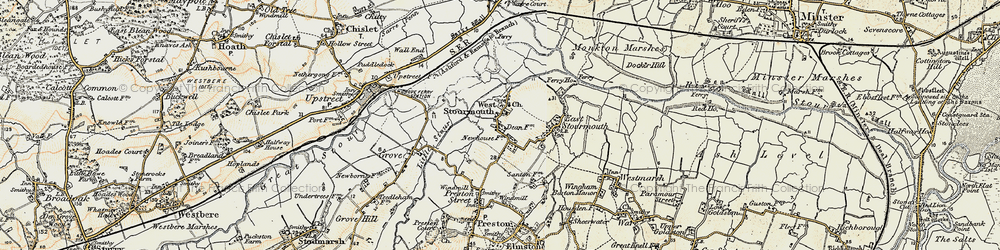 Old map of West Stourmouth in 1898-1899