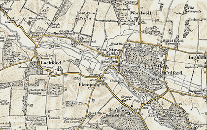 Old map of West Stow Heath in 1901