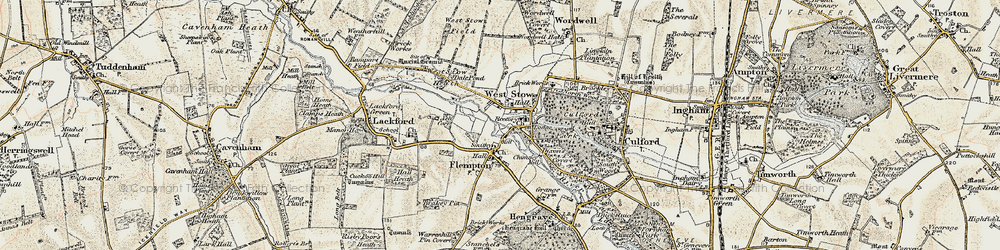 Old map of West Stow in 1901