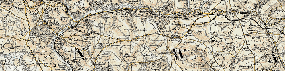 Old map of West Taphouse in 1900