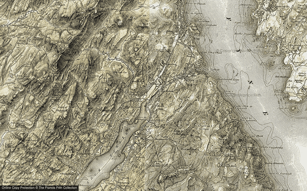 Old Map of Historic Map covering Bardaravine River in 1905-1907