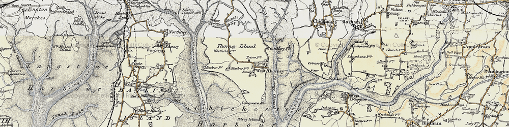 Old map of West Thorney in 1897-1899