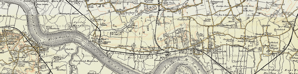 Old map of West Thurrock in 1897-1898