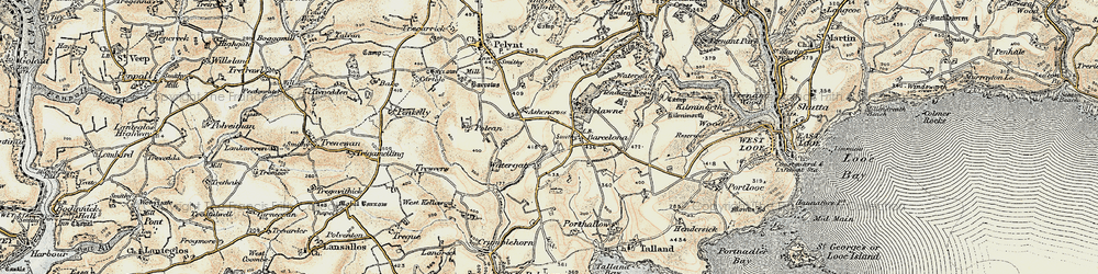 Old map of West Watergate in 1900