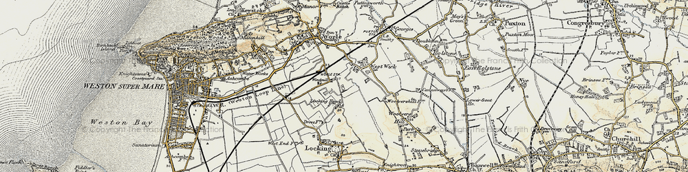 Old map of West Wick in 1899-1900