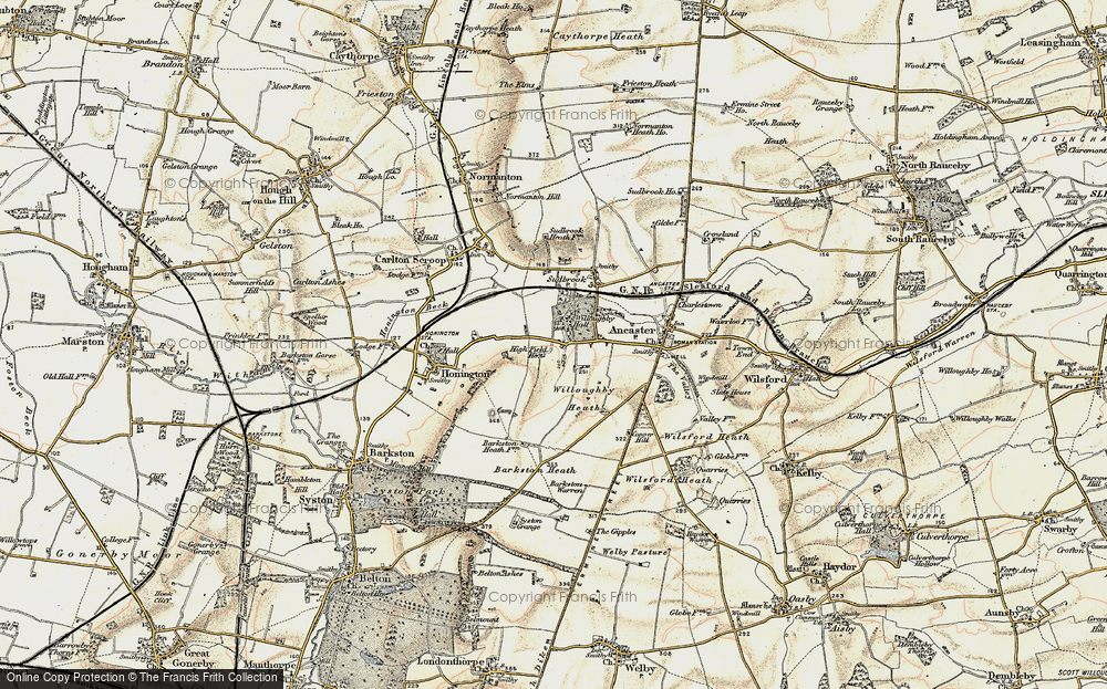 Old Map of Historic Map covering Willoughby Heath in 1902-1903
