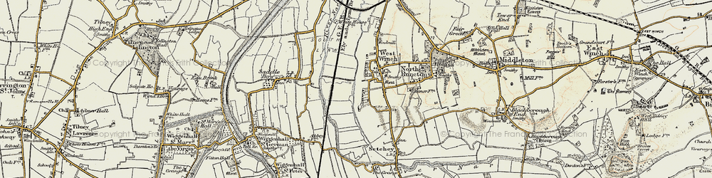 Old map of West Winch in 1901-1902