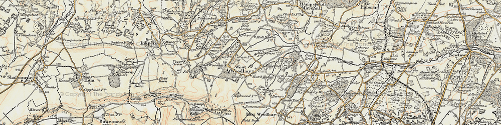 Old map of West Woodhay in 1897-1900