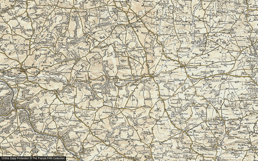 Old Map of Historic Map covering Affeton Moor in 1899-1900