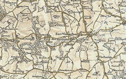 Old map of West Worlington in 1899-1900