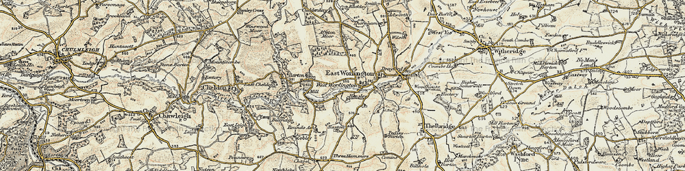 Old map of Affeton Moor in 1899-1900