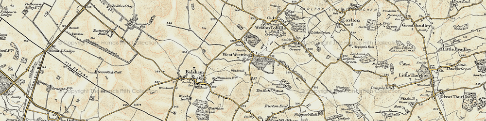Old map of West Wratting in 1899-1901