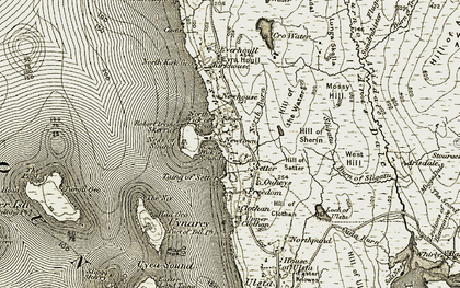 Old map of West Yell in 1912