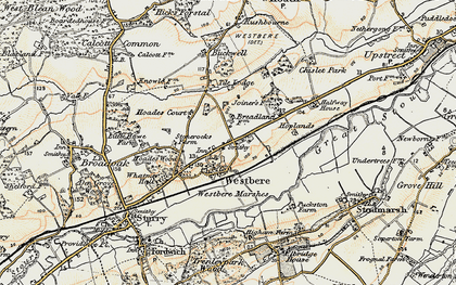 Old map of Westbere in 1898-1899