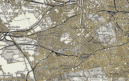 Old map of Westbourne Green in 1897-1909