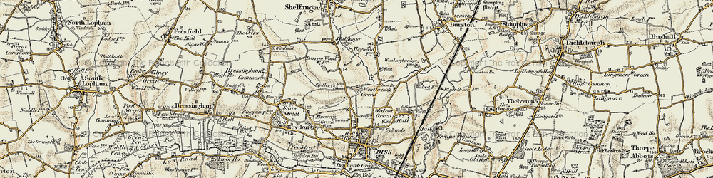 Old map of Westbrook Green in 1901-1902