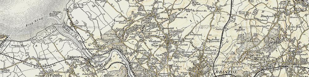 Old map of Westbury on Trym in 1899