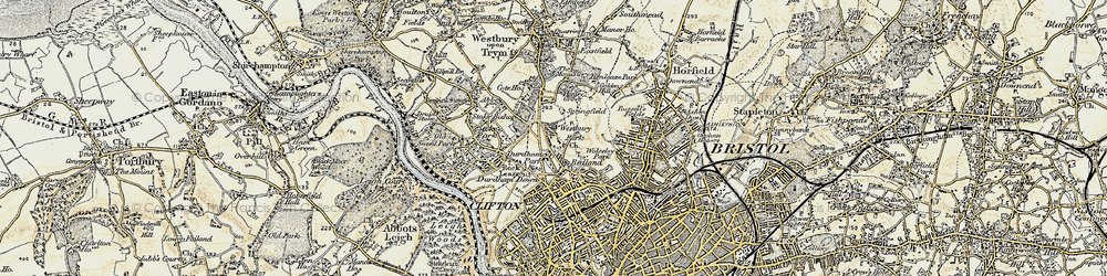 Old map of Westbury Park in 1899