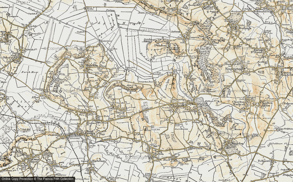 Old Map of Historic Map covering Bancombe Hill in 1898-1900