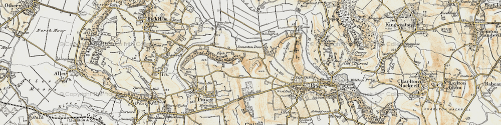 Old map of Whiscombe Hill in 1898-1900