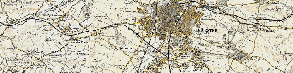 Old map of Westcotes in 1901-1903