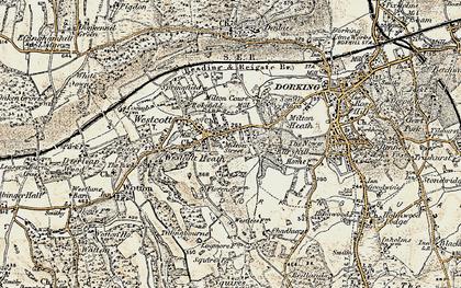 Old map of Westcott in 1898-1909