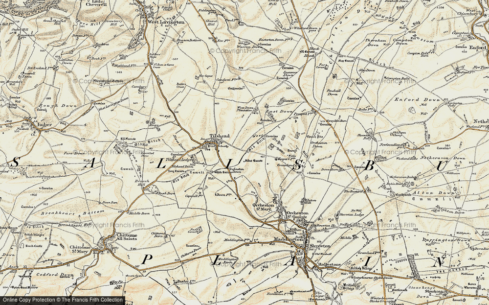 Old Map of Historic Map covering Ball Down in 1898-1899