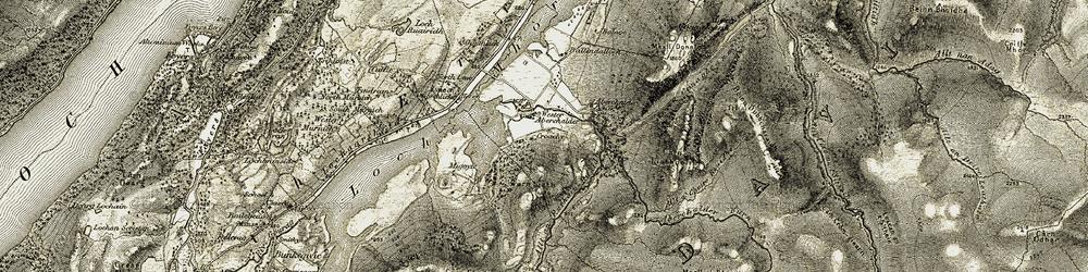 Old map of Wester Aberchalder in 1908-1912