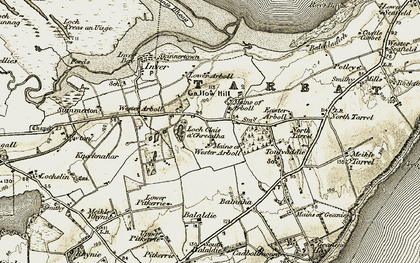 Old map of Wester Arboll in 1911-1912