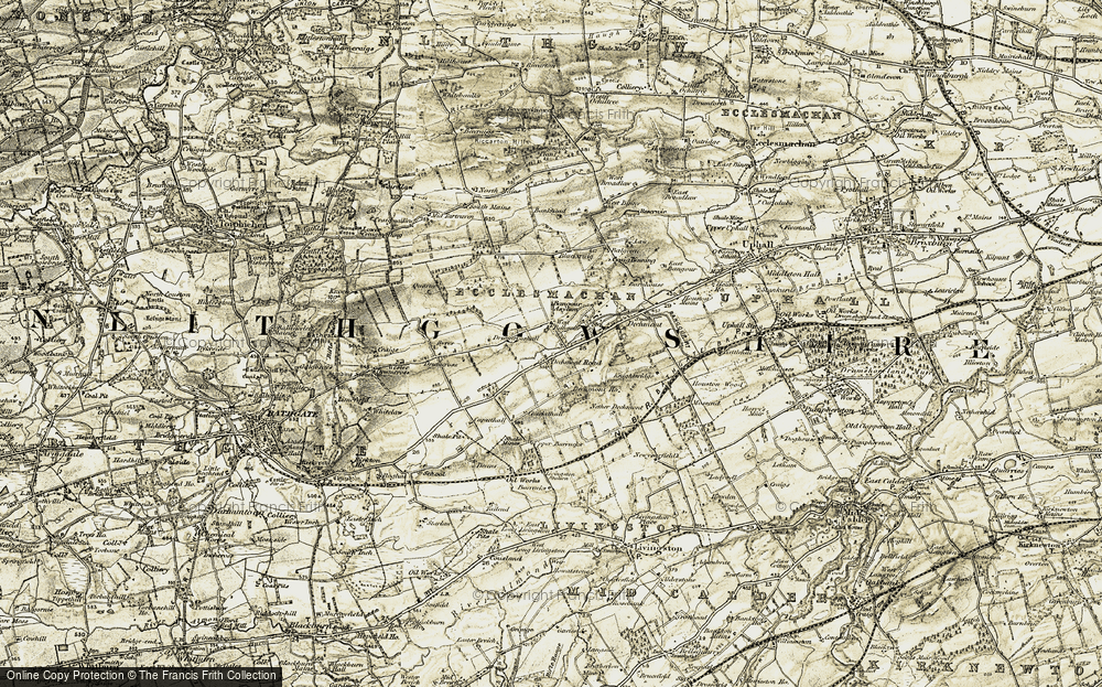 Old Map of Historic Map covering Bankhead in 1904