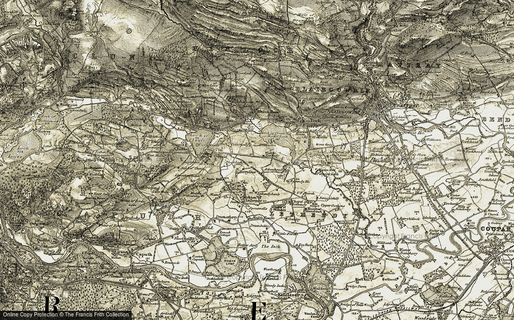 Old Map of Historic Map covering Aikenhead in 1907-1908