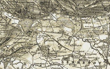 Old map of Aikenhead in 1907-1908