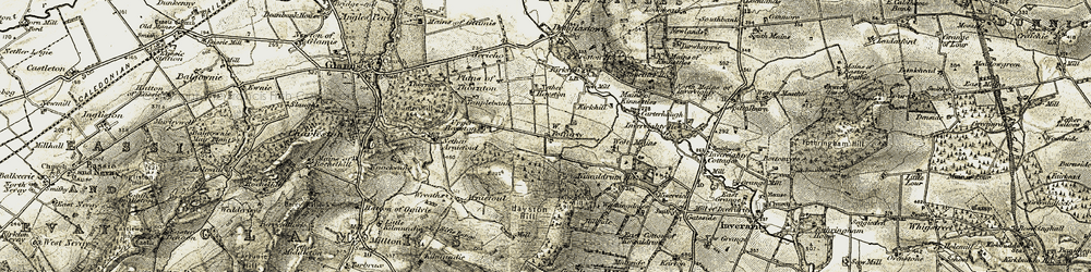 Old map of Wester Foffarty in 1907-1908