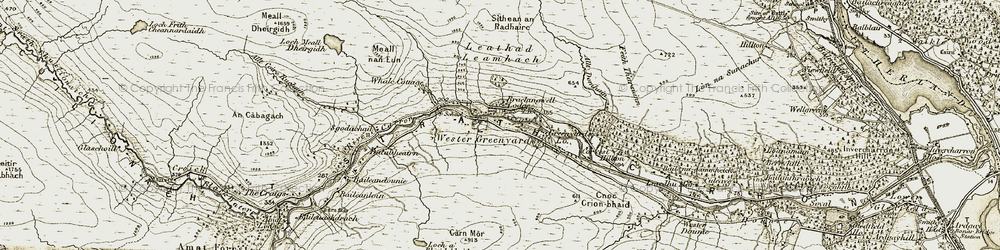 Old map of Wester Gruinards in 1911-1912
