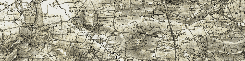Old map of Wester Meathie in 1907-1908